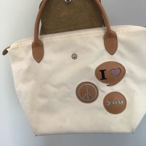 White Longchamp Bag with Patches